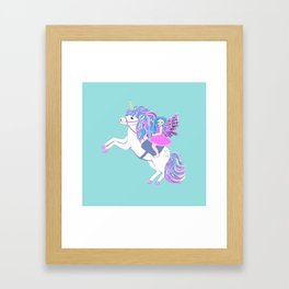 Unicorn and fairy magic Framed Art Print