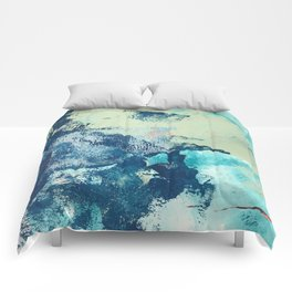 Letting Go: an abstract mixed-media piece in blues and greens by Alyssa Hamilton Art Comforters