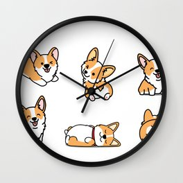 Kawaii Corgi Wall Clock