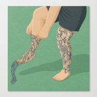 tattoos Canvas Prints featuring Tattoos by John Holcroft