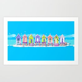 Beach Huts Fun Art Print