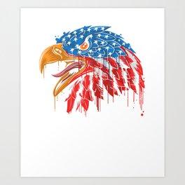 YOU FREE TONIGHT USA American Flag Patriotic Eagle Art Print