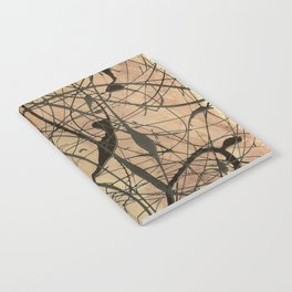 Pollock Inspired Abstract Black On Beige Notebook
