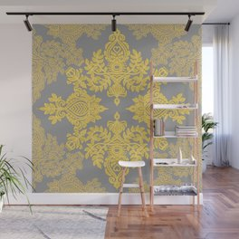 Golden Folk - doodle pattern in yellow & grey Wall Mural