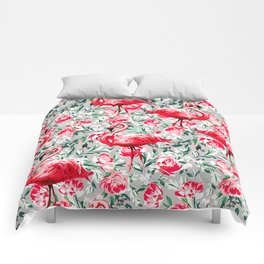 Flamingos and Flowers Comforters