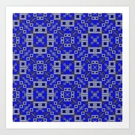 Vibrant Blue Indigo Grey Futuristic Quilt Print Art Print
