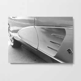 Classic American Sports Car, Close-up, Black and White Photo Metal Print
