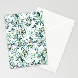 Country white green rustic watercolor floral Stationery Cards