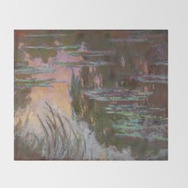 Water Lilies - Setting Sun by Claude Monet Throw Blanket