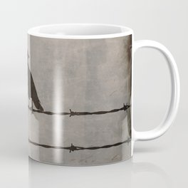 Rustic Black Bird Barbed Wire Modern Country Home Decor Art Matted Picture A476 Coffee Mug