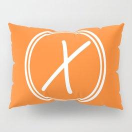 Monogram - Letter X on Pumpkin Orange Background Pillow Sham