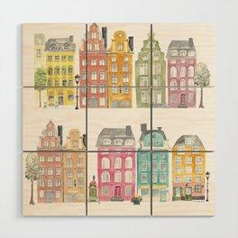 Stockholm houses Wood Wall Art