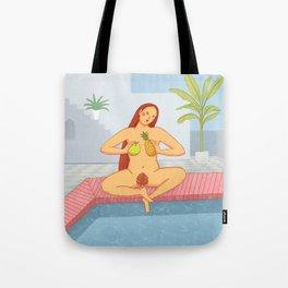 Red hair women sitting cross legged near the pool illustration Tote Bag