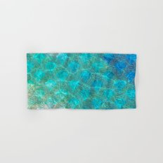 Sea Ocean Waves effect- Gold and Aqua Scales Pattern Hand & Bath Towel