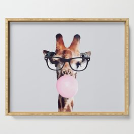 GIRAFFE WEARING GLASSES BLOWING A PINK BUBBLEGUM Serving Tray