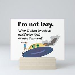 Lazy People Fight Alien UFO Mini Art Print