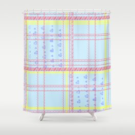 Soft coloured tartan text 'Love' - Pastel pink blue and yellow Shower Curtain