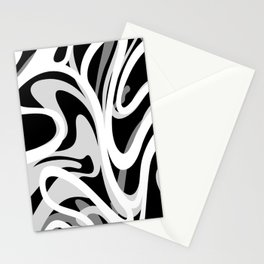 Finger Paint Swirls - Gray, Black and White Stationery Cards