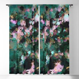 Contemporary Abstract Wall Art in Green / Teal Color Blackout Curtain