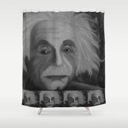 Albert Einstein, Original painting by Lu, black-and-white Shower Curtain