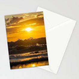 Sunset North Sea Waves Denmark Bjerregard Beach 4 Stationery Cards