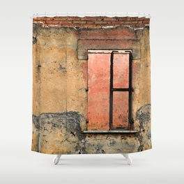 Ruin with Pink Window Shower Curtain