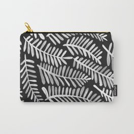 Modern Fronds – White on Black Palette Carry-All Pouch