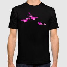 Love Birds-Pink Mens Fitted Tee Black MEDIUM