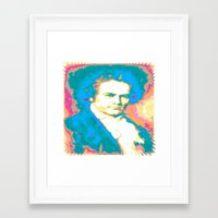 beethoven Framed Art Prints featuring Beethoven by Katherine Barnett