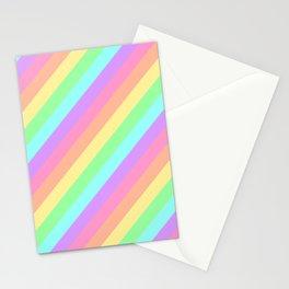 Pastel Rainbow Diagonal Stripes Stationery Cards