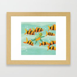 Baby Turtle's New Friends Framed Art Print