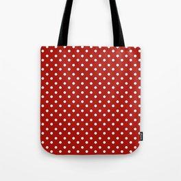 White & Red Navy Polkadot Pattern Tote Bag