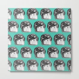 Minifigure Pattern – Teal Metal Print