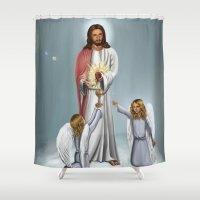 christ Shower Curtains featuring Jesus Christ by Georgi Minkov