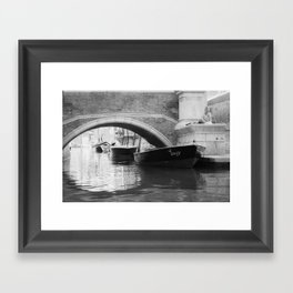 the boats sit quietly in the Venice Canals; black and white photography Framed Art Print