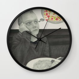 I crave pizza wall art, Black and White, Pencil drawing, Fine art prints, Prints illustrations Wall Clock