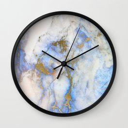 Gold And Blue Marble Wall Clock