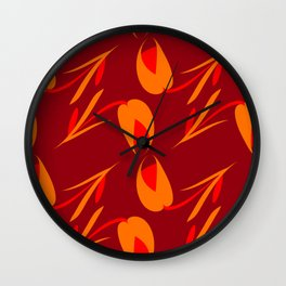 Mourning flowers and brick tulips on claret background. Wall Clock