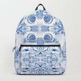 Blue on white pattern Backpack