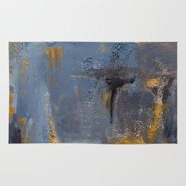 Blue, black ang gray abstract painting Rug