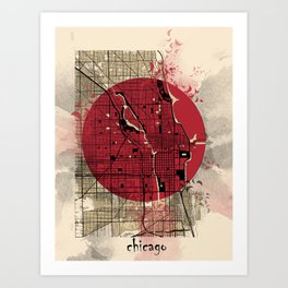 chicago map japanese style Art Print