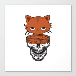 funny skull cat furniture Design by diegoramonart Canvas Print