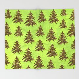 Sparkly Gold Christmas tree on abstract green paper Throw Blanket