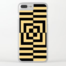 Graphic Geometric Pattern Minimal 2 Tone Illusion Squares (Golden Yellow & Black) Clear iPhone Case