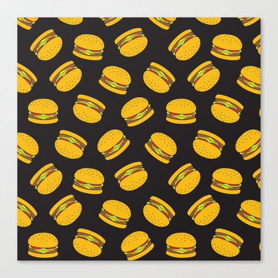 Burger Pattern  Everett co Canvas Print