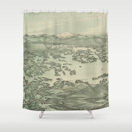Vintage Pictorial Map of Lake Winnipesaukee (1903) Shower Curtain