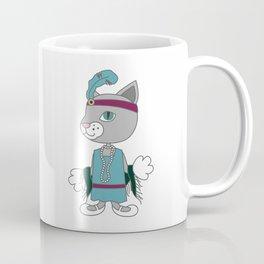 Vintage fashion inspired cat character. Cartoon animal illustration. Coffee Mug