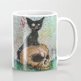 Black Cat with a Skull Coffee Mug
