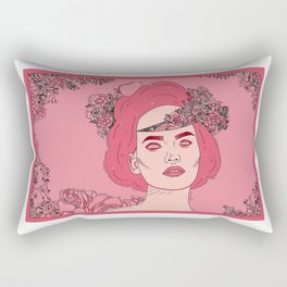 Pink Flower Girl Digital Drawing Rectangular Pillow