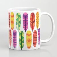 feathers Mugs featuring Feathers by Wharton